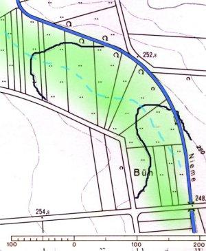 Projektziel: Teil - Rückverlegung des Quellbaches als Wiesenauebach in die Senke.