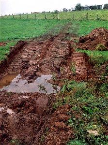Auf 12 m Länge wurden die Bachufer abgeflacht und das Bachbett verbreitert. Der Bodenaushub wurde abgefahren.